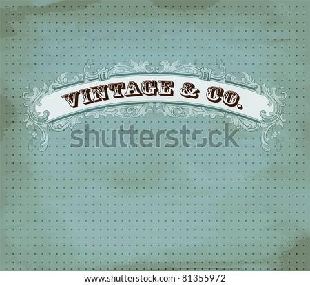 Vintage dot card - stock vector
