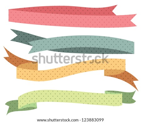 Vintage Dotted Styled Editable Ribbons / Banners colorful Collection - Vector set, isolated on white background - stock vector