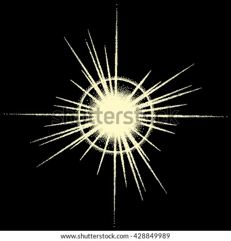 Vintage dotwork star, sparkle, sunburst or flare with rays - stock vector