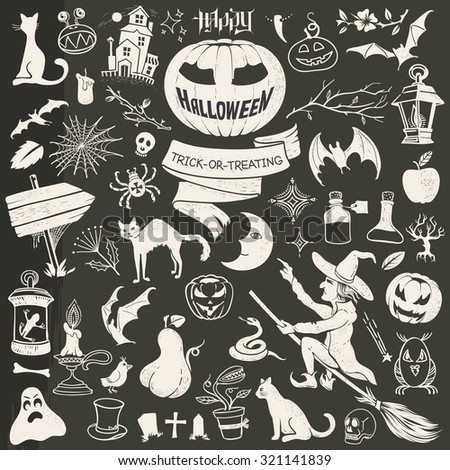 Vintage Drawing Halloween Contour Set: Symbols, Mascots, Mystical Characters and Scary Decor - stock vector