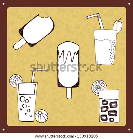 Vintage drinks and ice lollies set. Hand drawn vector illustration. Fully editable.