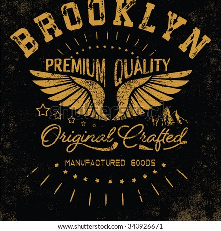 vintage eagle typography and icon for apparel - stock vector