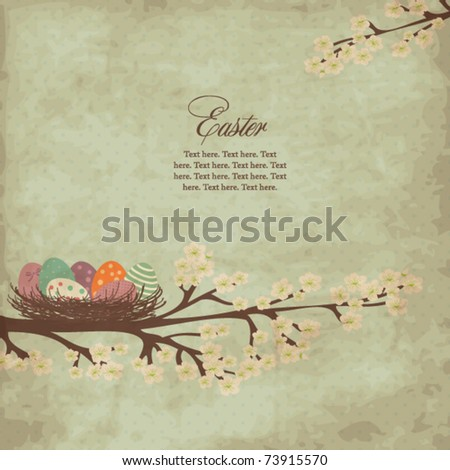Vintage easter card with nest of easter eggs