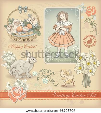 Vintage Easter design set. Vector illustration. - stock vector
