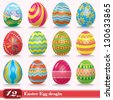 Vintage easter egg design set - stock photo