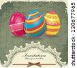 Vintage easter egg invitation design - stock vector