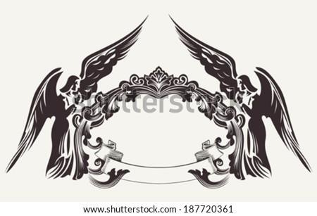 Vintage Easter Frame Illustration And Two Angels - stock vector