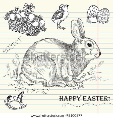 Vintage Easter rabbit - stock vector