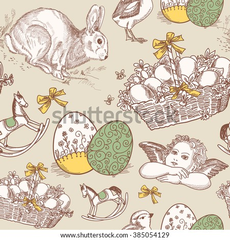 Vintage Easter Seamless background - stock vector