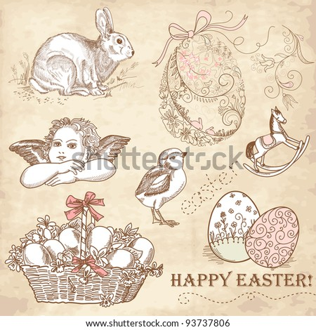 Vintage Easter Set - stock vector