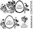 Vintage Easter Set. Collection of design elements isolated on White background. Vector illustration - stock vector