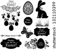 Vintage Easter Set. Collection of design elements isolated on White background.  Vector illustration - stock