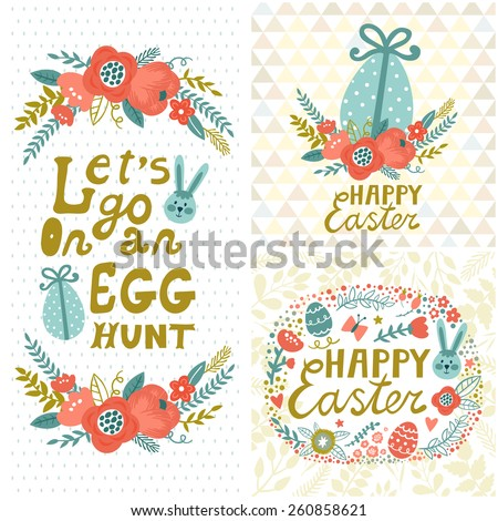 Vintage Easter set. Floral backgrounds with bunny, eggs, flowers and stylish golden text. Invitation templates. Cute childish holiday cards. - stock vector