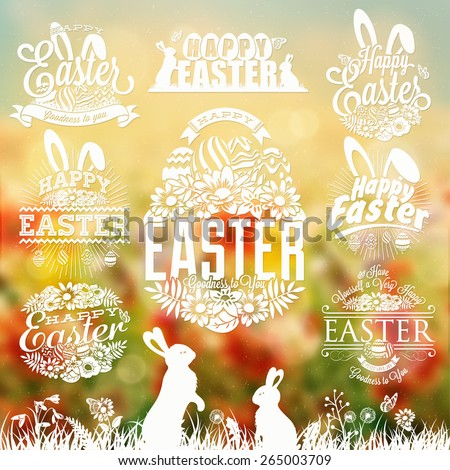 Vintage Easter Typographical Set With Flowers And Rabbit - stock vector