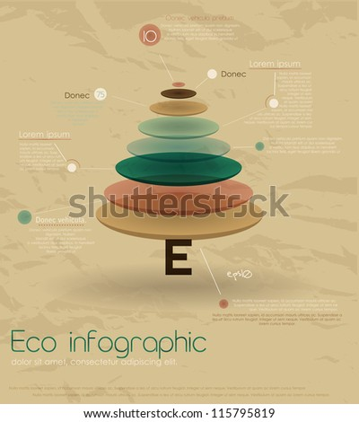 Vintage eco infographic with fir-tree. Vector illustration EPS10 - stock vector