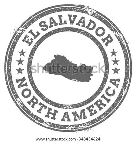 Vintage El Salvador Stamp Continent Name Stock Vector - North america map el salvador