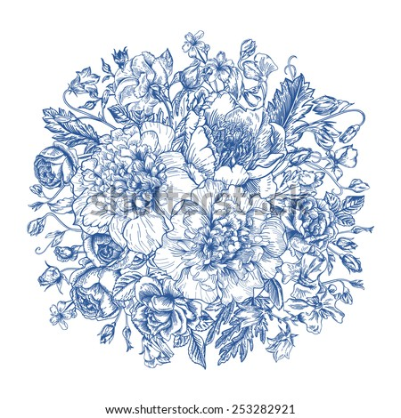 Vintage elegant vector background with a bouquet of flowers in blue. Peonies, roses, sweet peas, bell. Vector illustration. - stock vector
