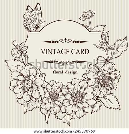 Vintage elegant vector card with a bouquet of dahlia flowers  - stock vector