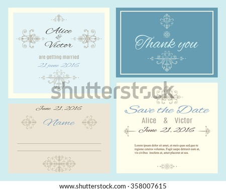 Vintage elegant wedding invitation cards set. Wedding collection. Can be used as greeting cards.Vector illustration