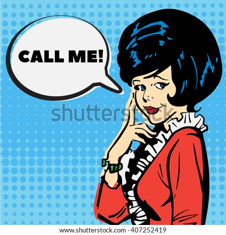 "Vintage elegant woman asked ""Call me"" vector - stock vector"