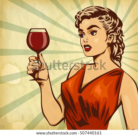 Vintage elegant woman hold glass red wine. Retro woman drink. Old paper background. Old-fashioned person.