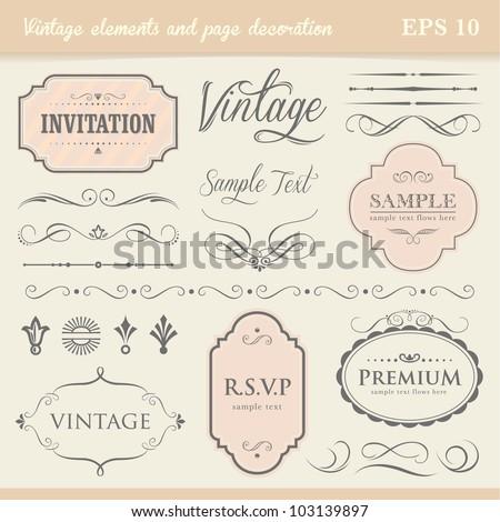 Vintage Elements Page Decoration Stock Vector 103139897 - Shutterstock