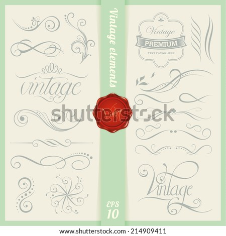 Vintage elements and page decoration - stock vector
