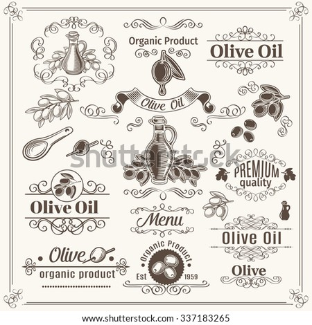 Vintage elements and page decoration  dividers, borders, swirls, scrolls and frames. Design Olive Oil. Vector Illustration. - stock vector