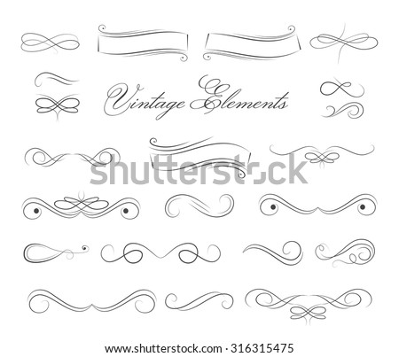 Vintage elements and page decoration. Ornate frames and scroll element. - stock vector