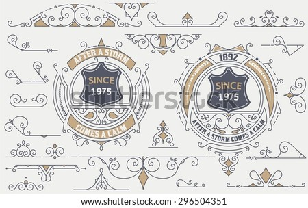Vintage Elements for Invitations, Banners, Posters, Placards, Badges or Logotypes. - stock vector