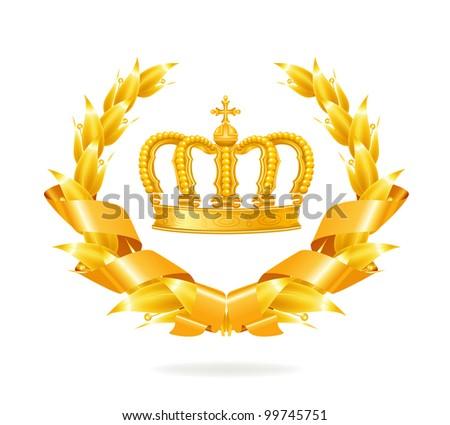 Vintage emblem, gold - stock vector