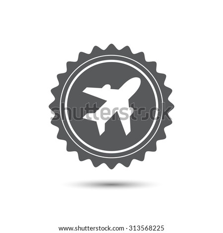 Vintage emblem medal. Airplane sign. Plane symbol. Travel icon. Flight flat label. Classic flat icon. Vector. - stock vector