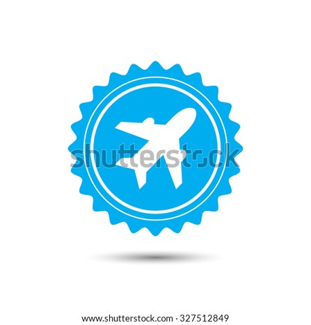 Vintage emblem medal. Airplane sign. Plane symbol. Travel icon. Flight flat label. Classic flat icon. Vector illustration - stock vector