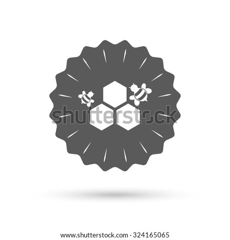 Vintage emblem medal. Honeycomb with bees sign icon. Honey cells symbol. Sweet natural food. Classic flat icon. Vector - stock vector