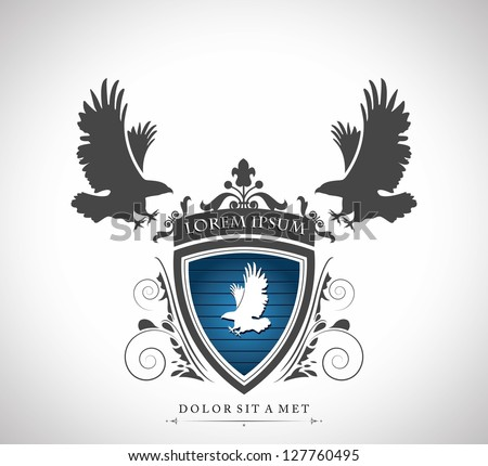 Vintage emblem with eagles with a place for Your text - stock vector
