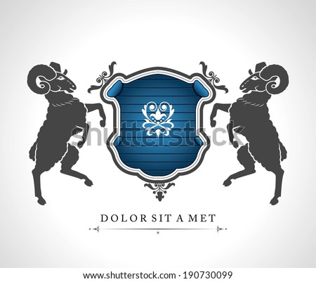 Vintage emblem with rams with a place for Your text  - stock vector