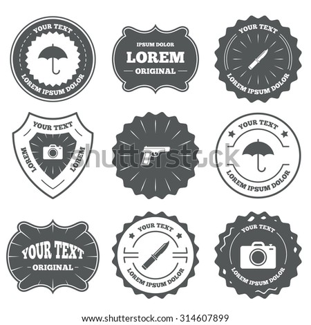 Vintage emblems, labels. Gun weapon icon.Knife, umbrella and photo camera signs. Edged hunting equipment. Prohibition objects. Design elements. Vector - stock vector