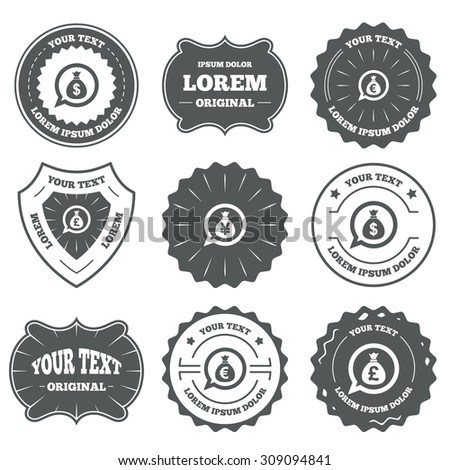 Vintage emblems, labels. Money bag icons. Dollar, Euro, Pound and Yen speech bubbles symbols. USD, EUR, GBP and JPY currency signs. Design elements. Vector - stock vector