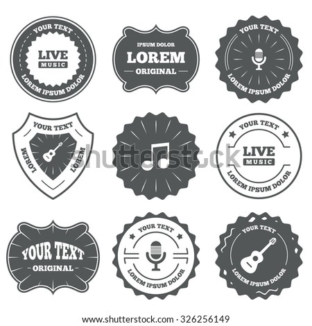 Vintage emblems, labels. Musical elements icons. Microphone and Live music symbols. Music note and acoustic guitar signs. Design elements. Vector - stock vector