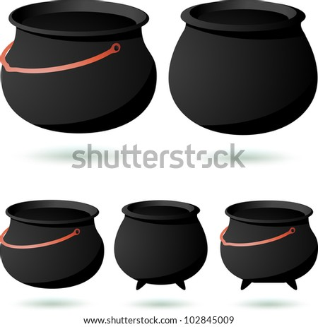 Vintage Empty black cauldron set isolated on white. Vector - stock vector