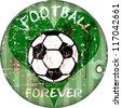 Vintage enamel football sign, grungy vector illustration - stock vector