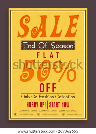 Vintage End of Season Sale poster, banner or flyer design with flat discount offer on fashion collection. - stock vector