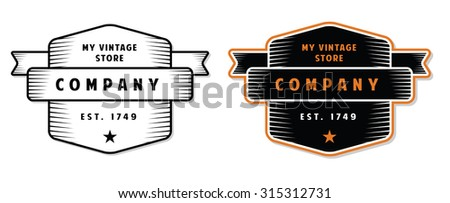 Vintage Engraved Badge for Stores - stock vector