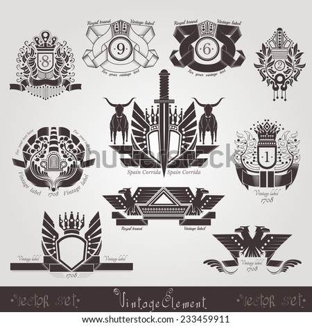 vintage engraving banners or labels with plant eagle bull and pattern - stock vector