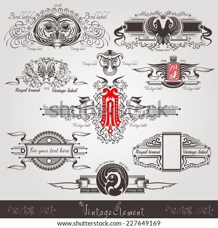 vintage engraving banners with different birds letter and pattern - stock vector