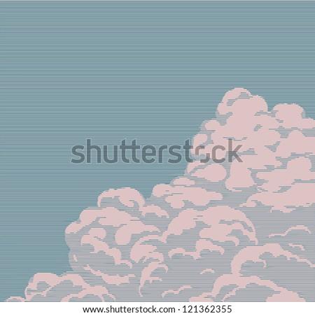 Vintage engraving cloud - stock vector