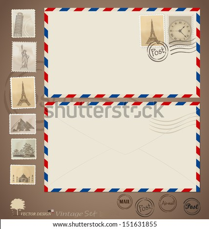 Vintage envelope designs and stamps. Vector illustration. - stock vector