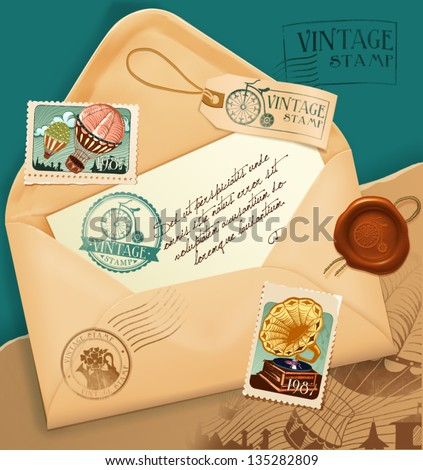 Vintage envelope with postage stamp - stock vector