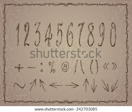 Vintage 123. EPS10 vector file organized in layers for easy editing.  - stock vector