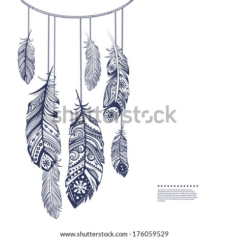 Vintage ethnic tribal feather seamless for your business - stock vector